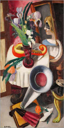 Acrylic print  Still life with gramophone and irises - Max Beckmann