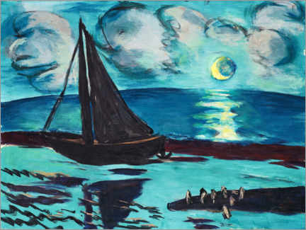 Wood print  Moon night by the sea - Max Beckmann