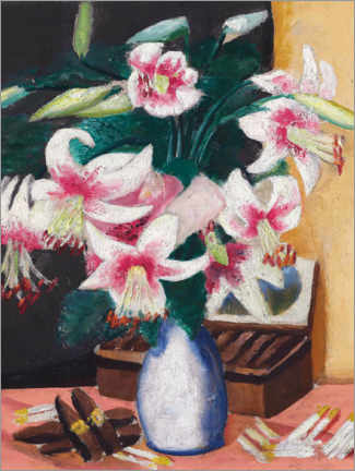Acrylic print  Still life with the Turk's Association (flowers with a cigar box) - Max Beckmann