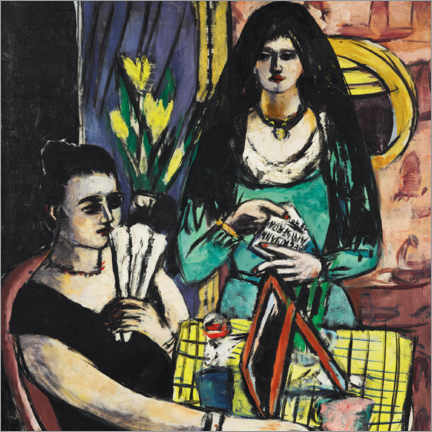 Gallery print  Girl in black on green - Max Beckmann