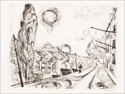 Wall sticker  Landscape with balloon - Max Beckmann