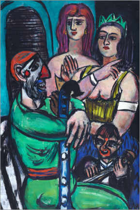 Foam board print  Clown with women and a little clown - Max Beckmann