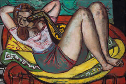 Wood print  Woman with a mandolin in yellow and red - Max Beckmann