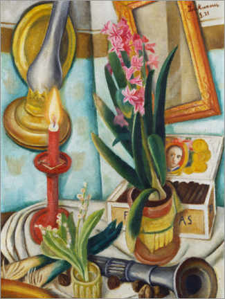 Premium poster  Still life with a burning candle - Max Beckmann