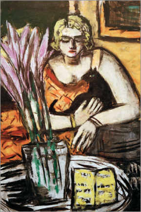 Wood print  Woman with cat - Max Beckmann