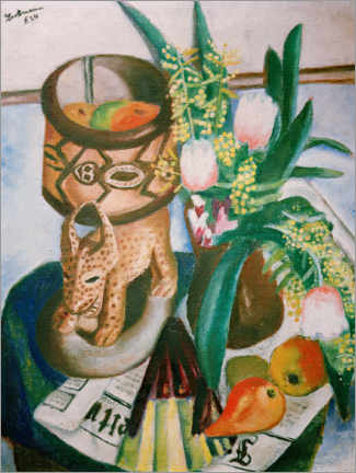 Wood print  Still life with African plastic - Max Beckmann