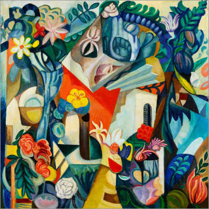 Gallery print  Composition with house and flowers - Hélène Oettingen