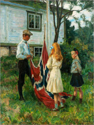 Premium poster  Children raise the Norwegian flag - Thorolf Holmboe