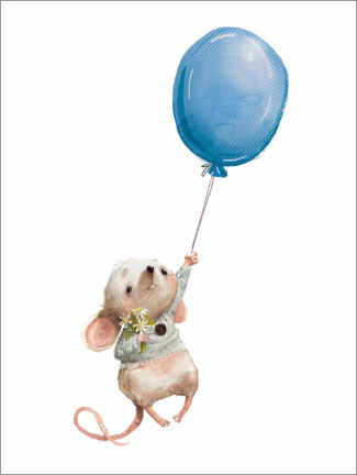 Premium poster  Little mouse with balloon - Kidz Collection