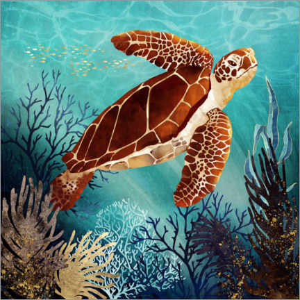 Premium poster  Metallic Sea Turtle - SpaceFrog Designs