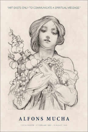 Wood print  Alfons Mucha - A spiritual message - Museum Art Edition