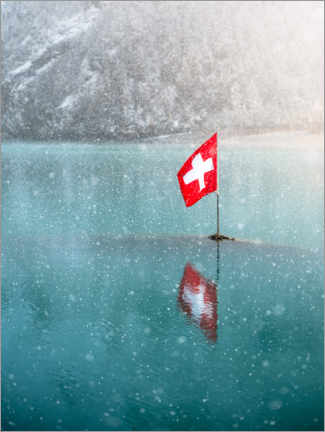 Premium poster Swiss flag in the Oeschinensee