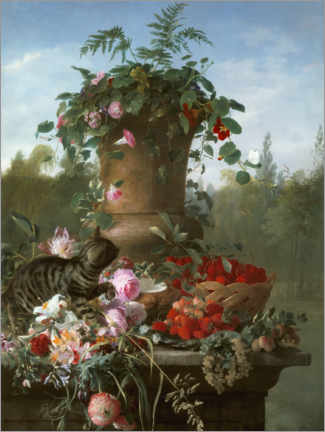 Wall sticker  Still life with flowers and fruits on a stone slab - François Antoine de Bruycker