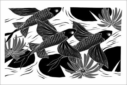 Premium poster  Flash - Black and white flying fish - Chromakane