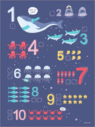 Premium poster  Counting numbers with marine animals - Heyduda