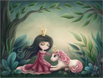 Premium poster  Princess with unicorn in the magic forest - Elena Schweitzer