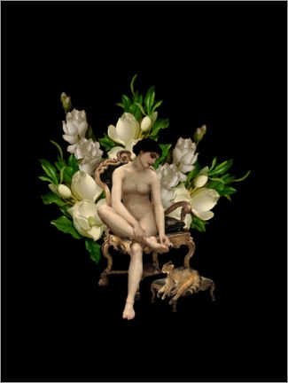 Gallery print  Vintage girl with magnolias and cat - UtArt