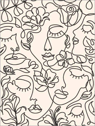 Premium poster  Lineart faces with flowers - TAlex