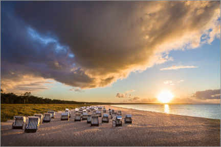 Premium poster  Baltic Sea beach chairs in the sunset - Christian Müringer