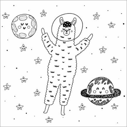 Colouring poster Alpaca in space