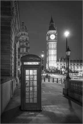 Premium poster  London phone booth and Big Ben, black and white - Jan Christopher Becke