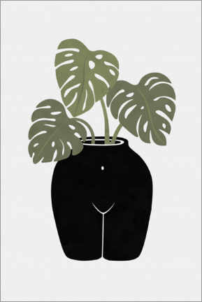 Premium poster Vase with monstera leaves