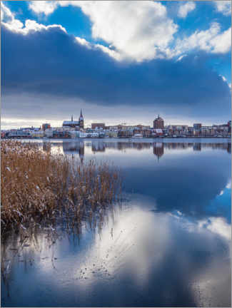 Acrylic print  View over the Warnow to the Hanseatic city of Rostock in winter - Rico Ködder