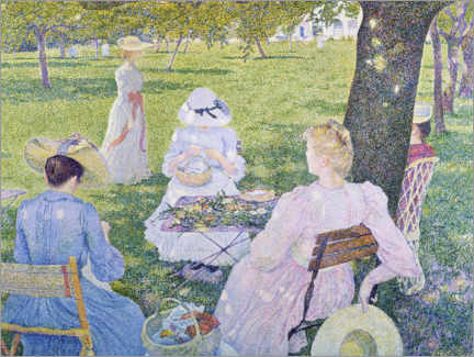 Aluminium print  Family in the orchard - Theo van Rysselberghe