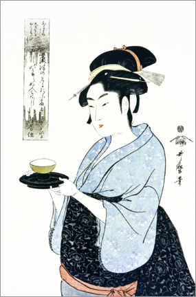 Premium poster  Naniwaya Okita serves a teacup in the famous tea house - Kitagawa Utamaro
