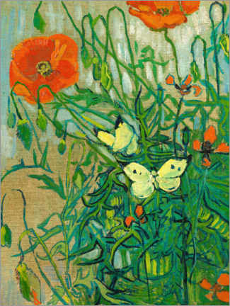 Wood print  Butterflies and poppies - Vincent van Gogh