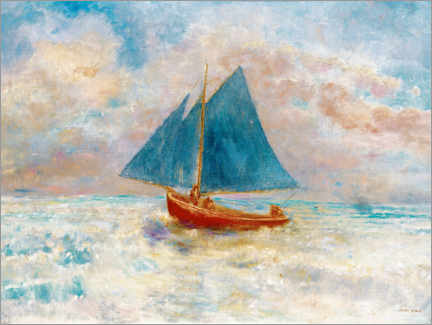 Canvas print  Red boat with blue sails - Odilon Redon
