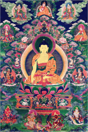 Canvas print  Buddha Shakyamuni with eleven figures - Tibetan School