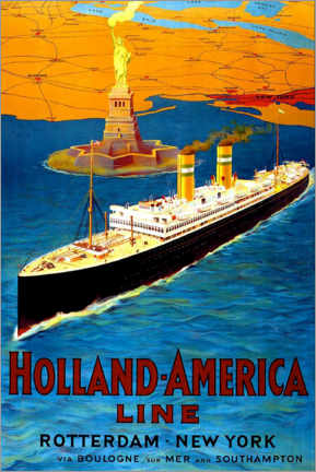 Wood print  Holland America Line - Rotterdam to New York - Travel Collection