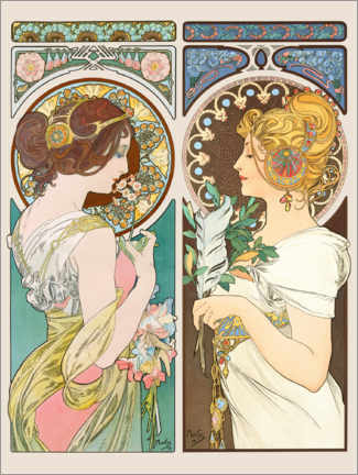 Canvas print  Primrose & Feather - Alfons Mucha