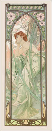 Acrylic print  The Times of the Day - Evening Contemplation - Alfons Mucha