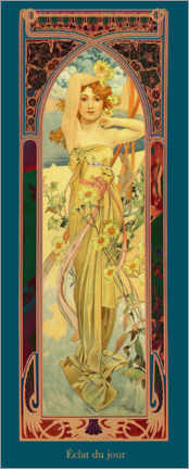 Aluminium print  The Times of the Day - Brightness of the Day - Alfons Mucha