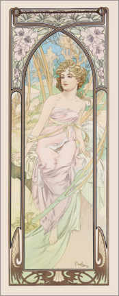 Acrylic print  The Times of the Day - Morning Awakening - Alfons Mucha