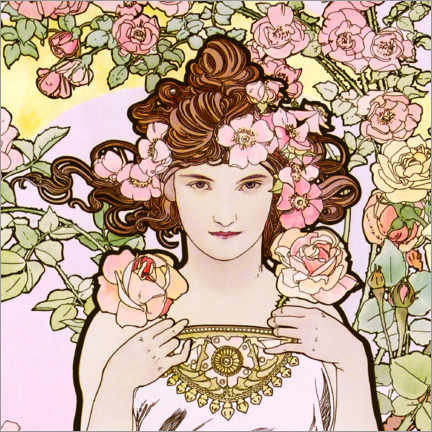 Acrylic print  The Flowers - The Rose (detail) - Alfons Mucha