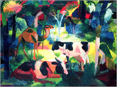 Gallery print  Landscape with Cows and a Camel - August Macke