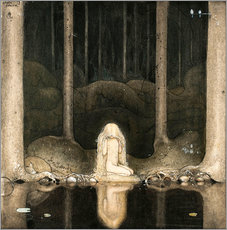 Gallery print  Princess Tuvstarr gazing down into the dark waters of the forest tarn - John Bauer