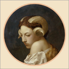 Canvas print  Female head crowned with ram horns - Jean Leon Gerome