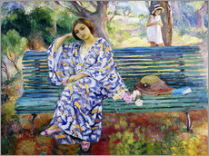 Wall sticker  Young woman sitting on a bench - Henri Lebasque