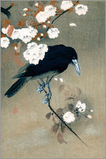 Wall sticker  Crow and blossom - Ohara Koson
