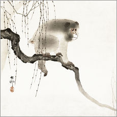 Wall sticker  Japanese macaque on a tree - Ohara Koson