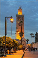 Gallery print  The Minaret of Koutoubia Mosque illuminated at night, UNESCO World Heritage Site, Marrakech, Morocco - Martin Child