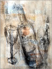 Gallery print  Wine bottle and glass - Christin Lamade