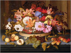 Premium poster  Fruit and a basket of flowers - Balthasar van der Ast