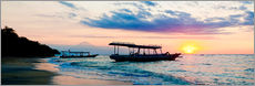 Wall sticker  Mount Agung on Bali and fishing boats silhouetted against a sunset, Gili Trawangan, Gili Isles, Indo - Matthew Williams-Ellis