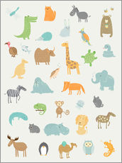 Wall sticker  All my zoo animals - Petit Griffin