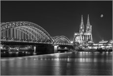 Wall sticker  Cologne Cathedral and Hohenzollern Bridge at night (b / w) - rclassen